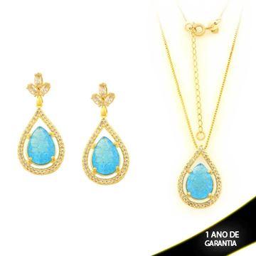Imagem de Conjunto Gota Pedra Natural com Zircônias Azul Claro 45cm Mais 5cm de Extensor - 0700952