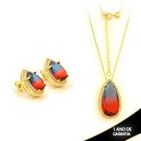Imagem de Conjunto Gota Pedra Rainbow Azul e Vermelho com Zircônias 45cm Mais 5cm de Extensor - 0700954