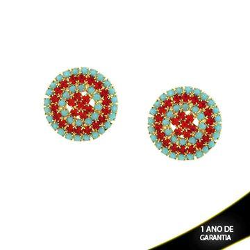 Imagem de Brinco Pizza Com Strass Azul Tiffany e Vermelho - 0210735