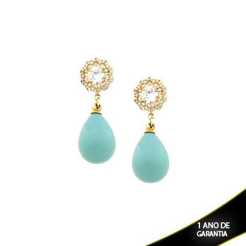Imagem de Brinco Flor com Zircônias e Pedra Natural Azul Claro - 0207374