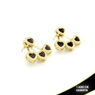 Imagem de Brinco Ear Jacket Corações de Pedra Preta - 0209291