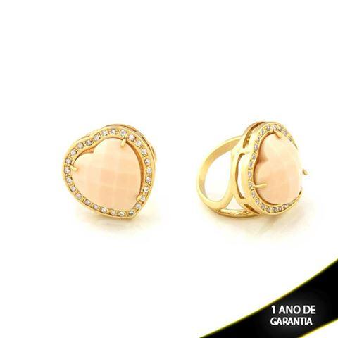 Imagem de Anel Pedra Natural Quartzo Rosa Coração com Zircônias em Volta - 0103749