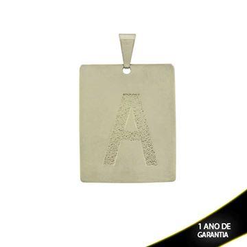 """Imagem de Pingente Aço Inox Placa com Letra """"A"""" Fosca - 0300227"""
