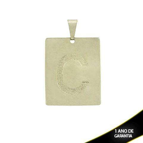 """Imagem de Pingente Aço Inox Placa com Letra """"C"""" Fosca - 0300227"""