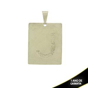 """Imagem de Pingente Aço Inox Placa com Letra """"J"""" Fosca - 0300227"""