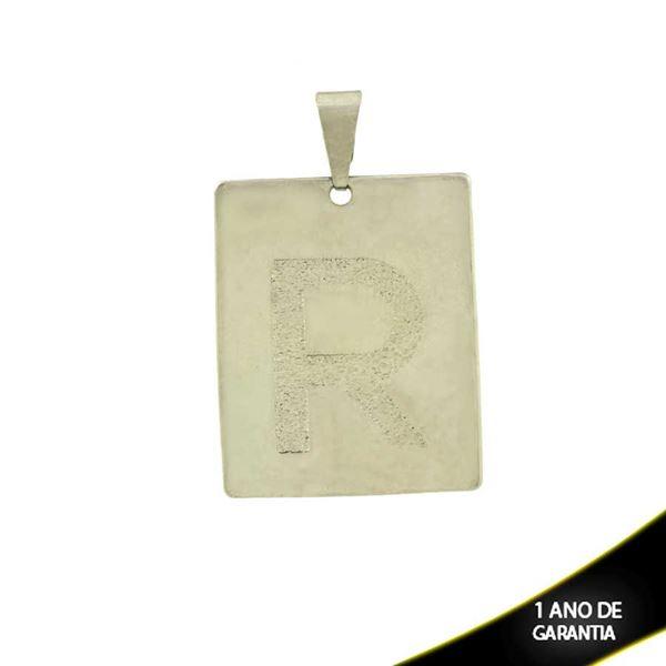 """Imagem de Pingente Aço Inox Placa com Letra """"R"""" Fosca - 0300227"""