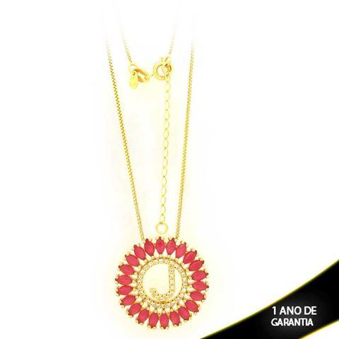 """Imagem de Corrente Feminina Mandala Letra """"J"""" com Zircônias Pink 40cm Mais 5cm de Extensor - 0402972"""