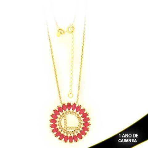 """Imagem de Corrente Feminina Mandala Letra """"L"""" com Zircônias Pink 40cm Mais 5cm de Extensor - 0402972"""