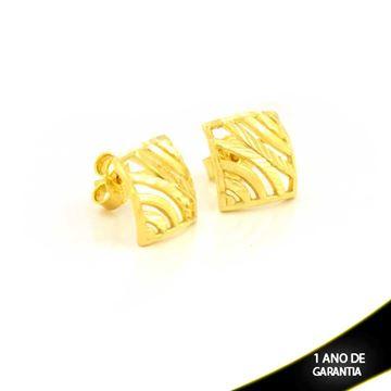 Imagem de Brinco Quadrado Vazado e Diamantado - 0211686