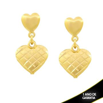 Imagem de Brinco Dois Corações Liso e Fosco Diamantado - 0211695