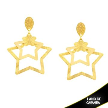 Imagem de Brinco Grande Três Estrelas Vazadas - 0211289