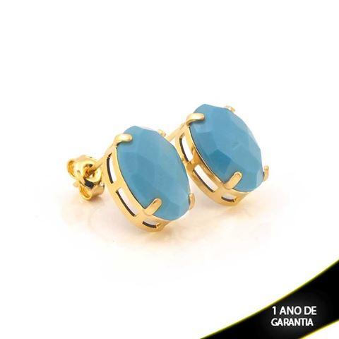 Imagem de Brinco de Pedra Acrílica Oval Azul - 0210672