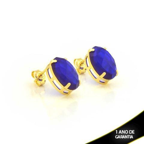 Imagem de Brinco de Pedra Acrílica Oval Azul Escuro - 0210672
