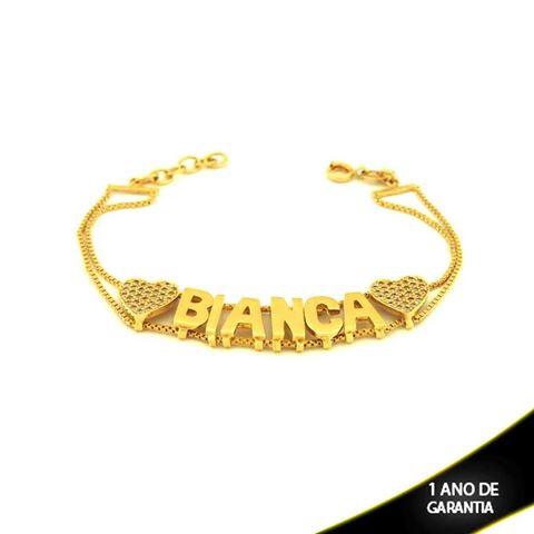 Imagem de Pulseira Feminina Nome Simples Com Coração em Zircônia (personalizado) 19cm - 0502646