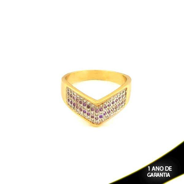 Imagem de Anel em V com Aplique de Ródio e Zircônias Brancas e Roxas - 0103513