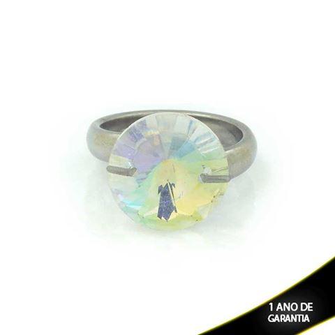 Imagem de Anel Aço Inox com Pedra de Cristal Furta-Cor Redonda - 0100168