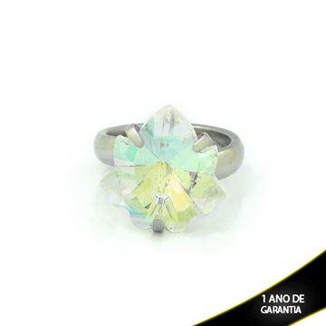 Imagem de Anel Aço Inox com Pedra de Cristal Furta-Cor Formato Folha - 0100165