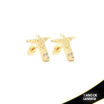 Imagem de Brinco Médio Cristo Redentor com Três Strass - 0208315