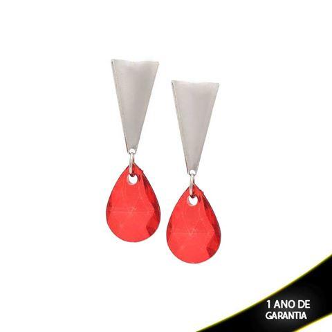 Imagem de Brinco Aço Grande com Pedra Acrílica Vermelha - 0200468