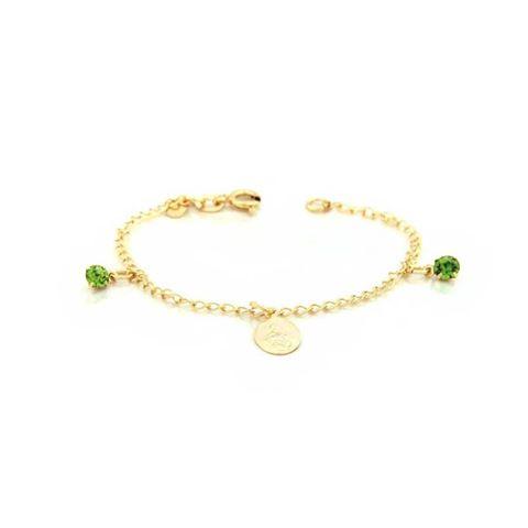 Imagem de Pulseira Infantil Com Uma Medalhinha e Dois Strass Verdes 14cm - 0502716