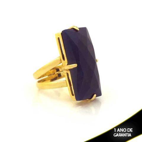 Imagem de Anel com Pedra Retangular de Resina Azul - 0103611