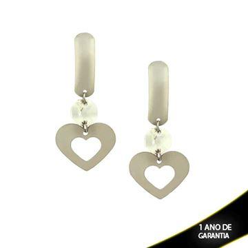 Imagem de Brinco Aço Inox Coração Com Pedra De Cristal Branca - 0203820