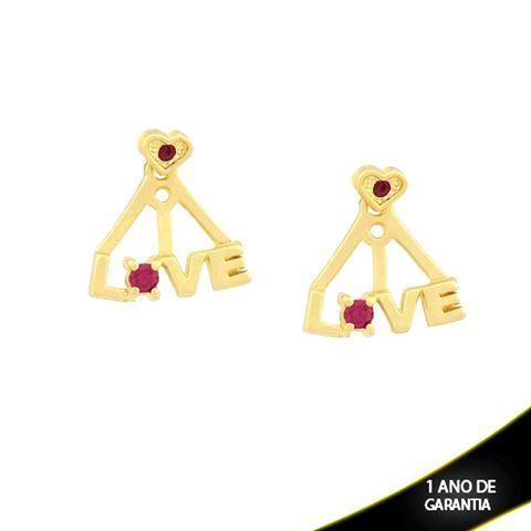 """Imagem de Brinco Ear Jacket Escrito """"Love"""" com Coração e Dois Strass Pink - 0209295"""