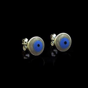 Imagem de Brinco de Prata 925 Redondo Olho Grego em Madrepérola - 0211958
