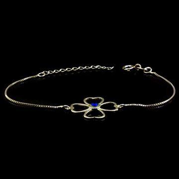Imagem de Pulseira Feminina de Prata 925 Trevo de Coração com Olho Grego 16cm Mais 3,5cm de Extensor - 0503878