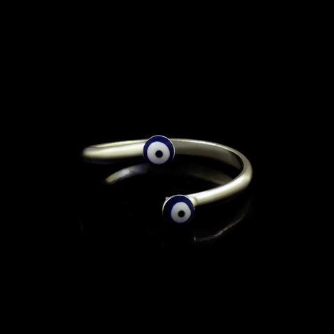 Imagem de Anel de Falange ou Infantil Prata 925 Regulável com Dois Olhos Gregos - 0104884