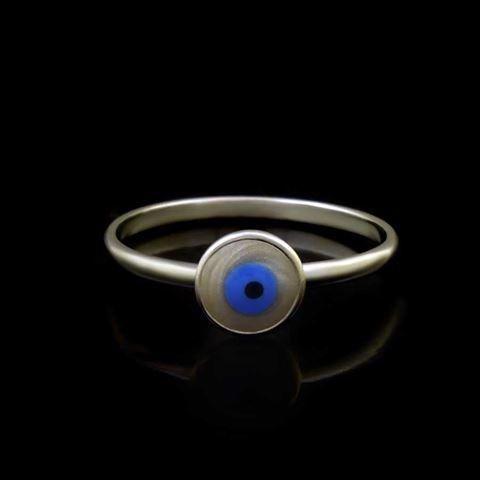 Imagem de Anel de Prata 925 Olho Grego Redondo Pequeno - 0104892