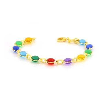 Imagem de Pulseira Infantil com Pedras Redondas Coloridas 14cm - 0503868