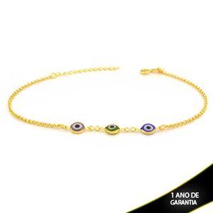 Imagem de Tornozeleira Três Olhos Gregos Coloridos 23cm Mais 4,5cm de Extensor - 0600663