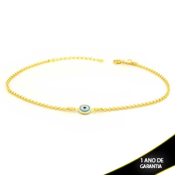Imagem de Tornozeleira Olho Grego Azul Claro 23cm Mais 4cm de Extensor - 0600662