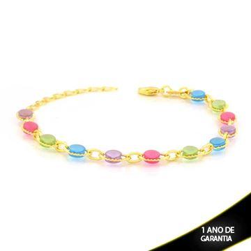 Imagem de Pulseira Feminina com Pedras Redondas Coloridas 15cm Mais 4cm - 0503869