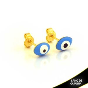 Imagem de Brinco Oval Olho Grego Azul - 0211981