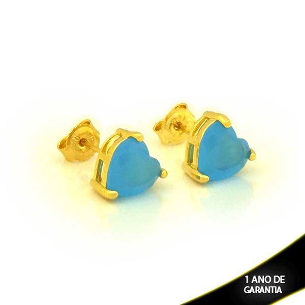 Imagem de Brinco Coração de Pedra Azul Claro - 0210776