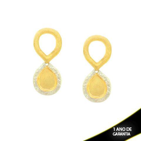 Imagem de Brinco Gota Fosca e Diamantada com Aplique de Ródio - 0209816