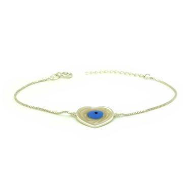 Imagem de Pulseira Feminina de Prata 925 Coração com Olho Grego 16cm Mais 3,5cm de Extensor - 0503877