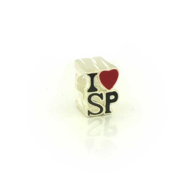 """Imagem de Pingente Berloque Prata 925 Escrito """"I Love SP"""" - 0304544"""