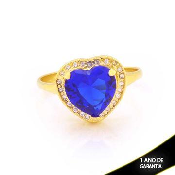 Imagem de Anel Coração com Pedras de Zircônias Brancas e Azul - 0104792