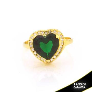 Imagem de Anel Coração com Pedras de Zircônias Brancas e Verde - 0104792