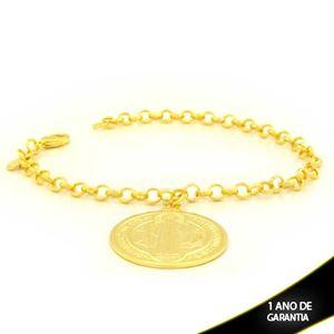 Imagem de Pulseira Feminina com Medalhão Grande 19cm - 0503905