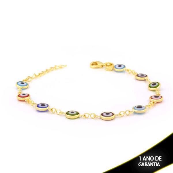 Imagem de Pulseira Feminina de Olhos Gregos Coloridos 16cm Mais 3cm de Extensor - 0503931