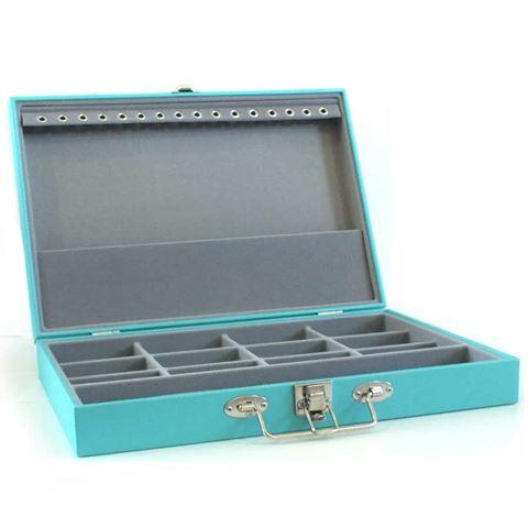 Imagem de Maleta Simples Grande Azul Tiffany para Semi Joias (Cinza) - 020145