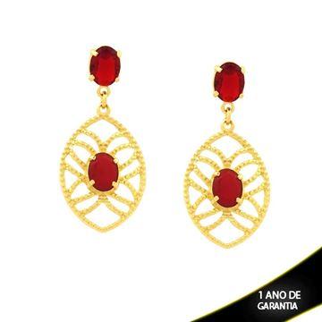 Imagem de Brinco Grande com Duas Pedras Ovais Vermelhas - 0210932