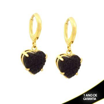 Imagem de Brinco de Argola com Coração em Pedra Drusa Preta - 0210673