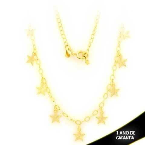 Imagem de Corrente Feminina Choker com Estrelas Diamantadas 36cm - 0403672