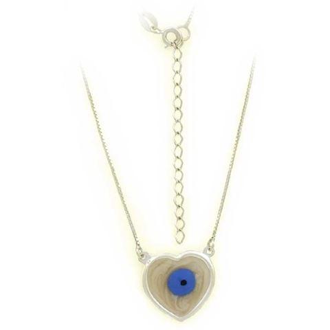Imagem de Corrente Feminina Prata 925 Coração com Olho Grego em Madrepérola 40cm Mais 5cm de Extensor - 0403616