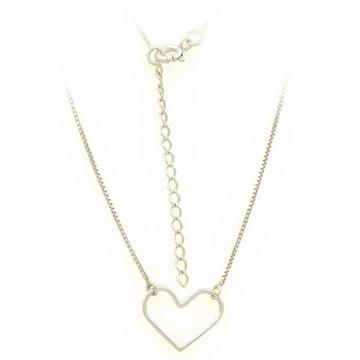Imagem de Corrente Feminina Choker de Prata 925 com Coração de Fio Vazado 36cm Mais 5cm de Extensor - 0403622